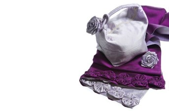 Mulberry/Pearl Silk Voyages Wrap with matching bag and corsage